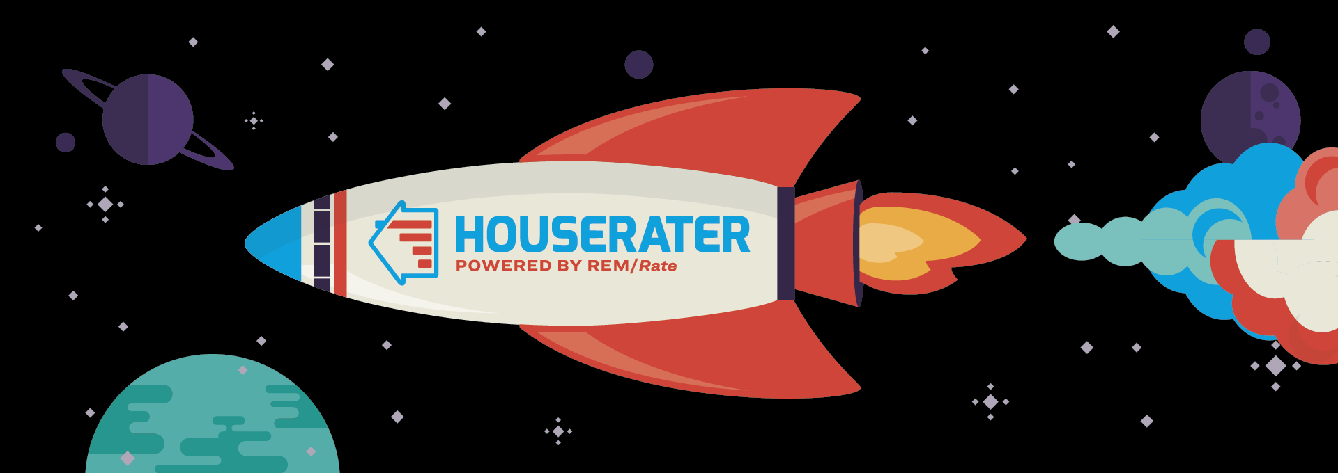 The HouseRater energy rating service rocket powered by REM/Rate flying through space